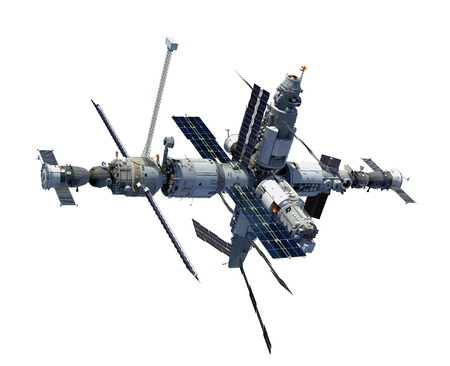 Russian Space Station Isolated On White Background
