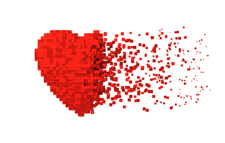 Disintegration Of Red Digital Heart Isolated On White Background Stockfoto