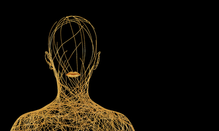 Silhouette Of Woman Consisting Of Tangled Golden Wires On Black Background Stockfoto