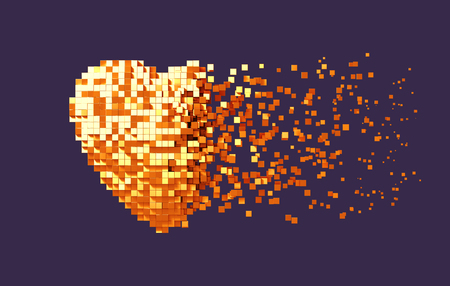 Disintegration Of Golden Digital Heart On Purple Background Stockfoto