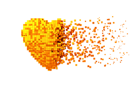 Disintegration Of Golden Digital Heart Isolated On White Background