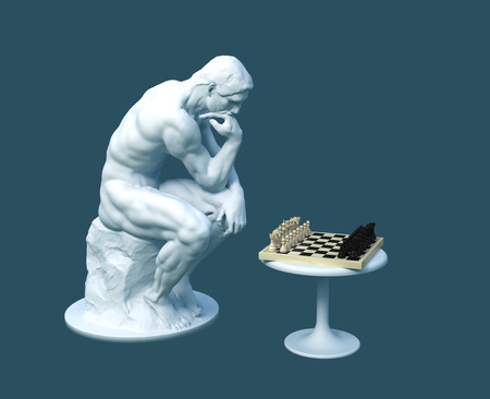 Sculpture Thinker Pondering The Chess Game On Blue Background