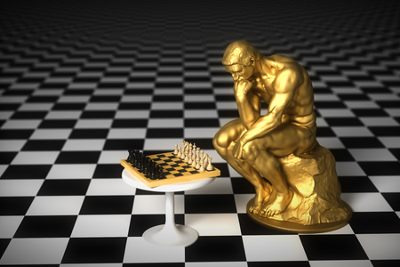 Gold Sculpture Thinker Pondering The Chess Game