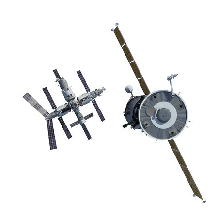 The Spacecraft Flies To Space Station Isolated On White Background