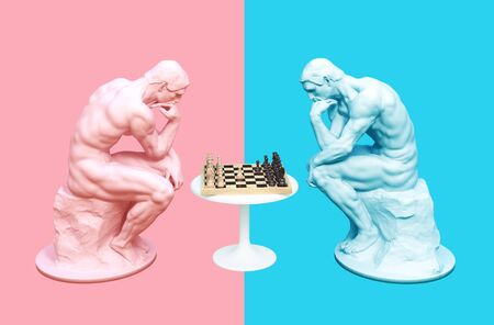 Two Thinkers Pondering The Chess Game On Pink And Blue Backgrounds Stock Photo