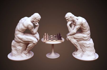 Two Thinkers Pondering The Chess Game On Brown Background Stock Photo