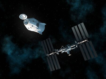 Commercial Spacecraft And International Space Station In Space