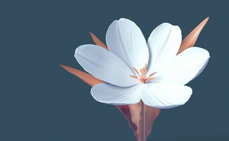 Conceptual Synthetic Flower Tulip On Blue Background
