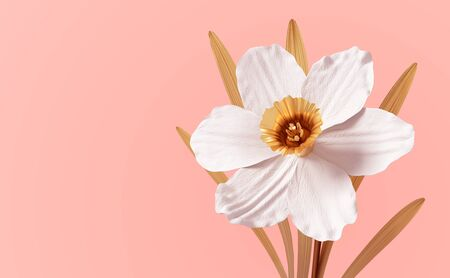 Conceptual Synthetic Flower Narcissus On Pink Background