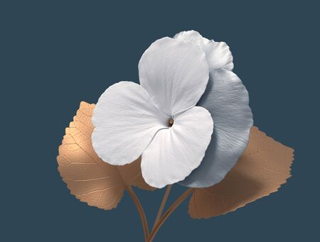 Conceptual Synthetic Flower Viola On Blue Background