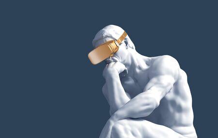 Penseur avec des lunettes VR dorées sur fond bleu