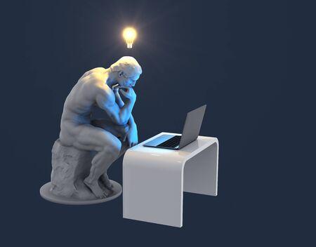 Penseur de la sculpture avec ordinateur portable et ampoule rougeoyante au-dessus de sa tête comme symbole d'une nouvelle idée. Fond bleu Banque d'images