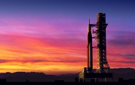 Space Launch System On Launchpad Over Background Of Pink Clouds Stockfoto