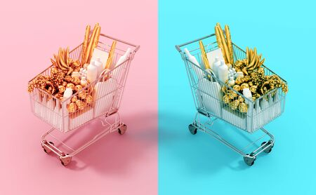 Shopping Carts With Gold Food End White Goods On Pink And Cyan Backgrounds Stok Fotoğraf