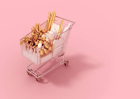 Shopping Cart With White Goods And Gold Products On Pink Background