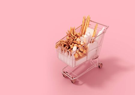 Shopping Cart With Gold Products And White Goods On Pink Background