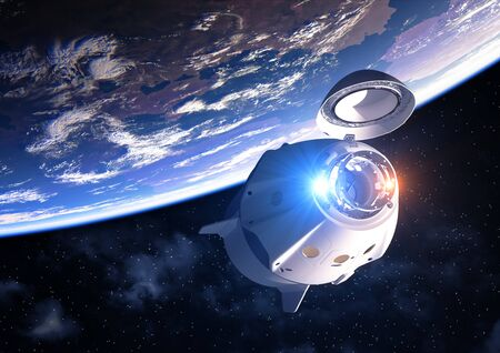 Commercial Spacecraft With Open Docking Hatch Orbiting Planet Earth
