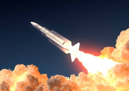 Military Rocket Launch In The Clouds Of Fire