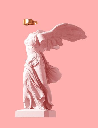 3D Model Of Winged Victory With Golden VR Glasses On Pink Background. Concept Of Art Inside Virtual Reality.