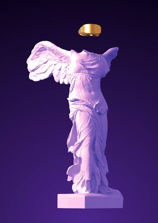 3D Model Of Winged Victory With Golden VR Glasses On Purple Background Banco de Imagens