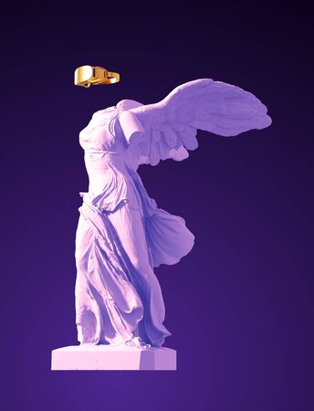 3D Model Of Winged Victory With Golden VR Glasses On Purple Background. Concept Of Art Inside Virtual Reality.