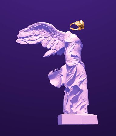 3D Model Of Winged Victory With Golden VR Glasses On Purple Background. Concept Of Art And Virtual Reality.