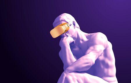 Sculpture Thinker With Golden VR Glasses On Purple Background Banque d'images