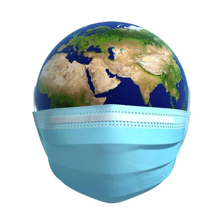 Earth In Medical Mask. Concept Of virus Protection