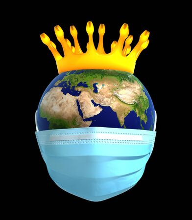 Planet Earth In Medical Mask With Coronavirus Crown Banco de Imagens