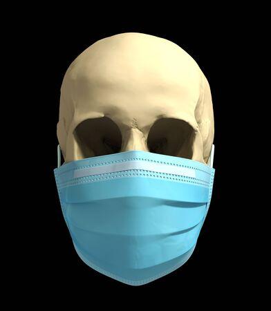 Skull In Medical Mask. Concept Of Deadly Coronavirus Epidemic.