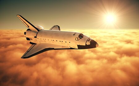 Space Shuttle Above The Clouds During Sunrise Banco de Imagens