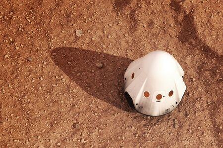 Descent Module Of Private Spacecraft On Surface Of Planet Mars. Top View. Banco de Imagens