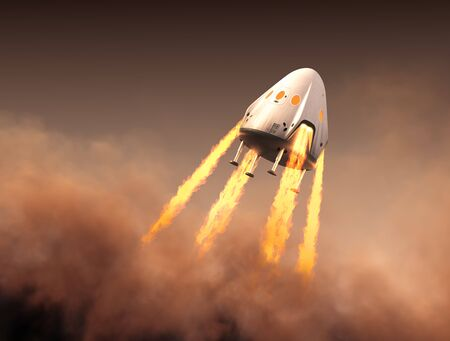Private Spacecraft Module Launch From Red Planet