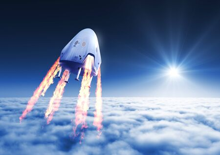 Private Spacecraft Module Launch Above The Clouds Zdjęcie Seryjne
