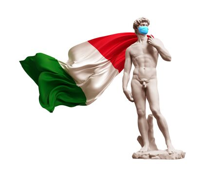 3D Model David In Medical Mask With Flag Of Italy Banco de Imagens