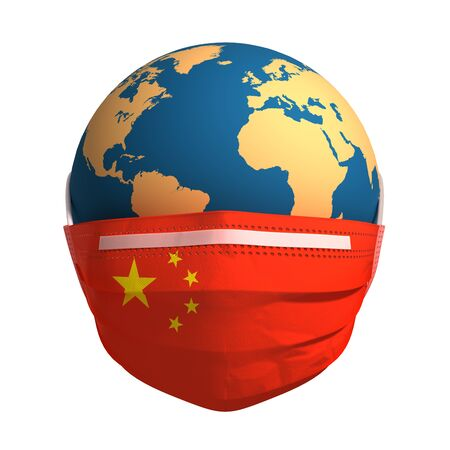 Earth In Medical Mask With Flag Of China