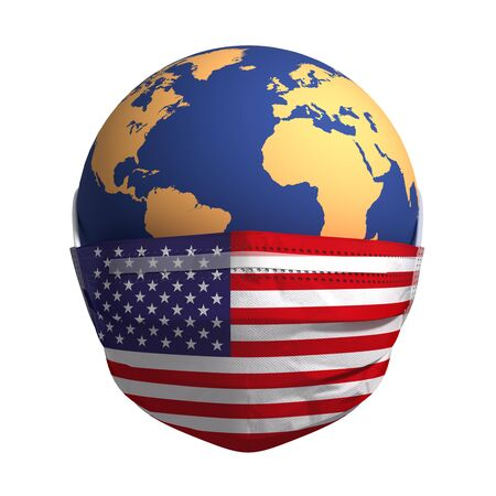 Earth In Medical Mask With Flag Of USA