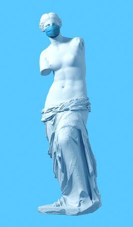 3D Model Aphrodite With Medical Mask On Blue Background