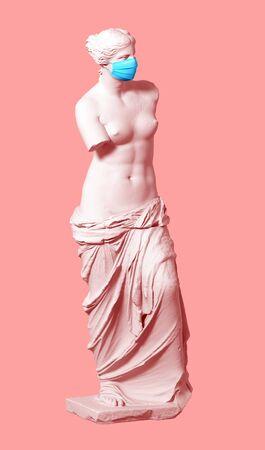 3D Model Aphrodite In Medical Mask Over Pink Background