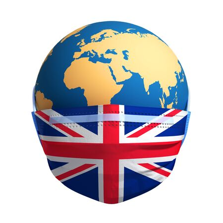 Planet Earth In Medical Mask And Flag Of Great Britain Banco de Imagens