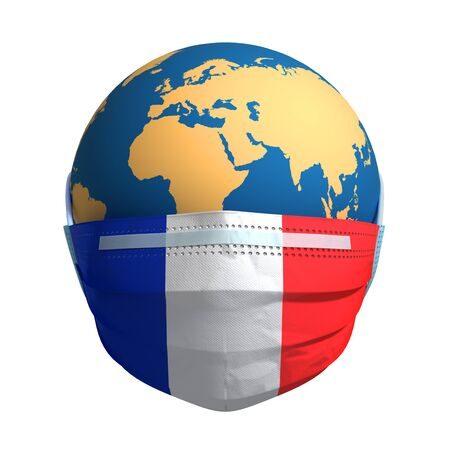 Planet Earth In Medical Mask And Flag Of France On White Background Banco de Imagens
