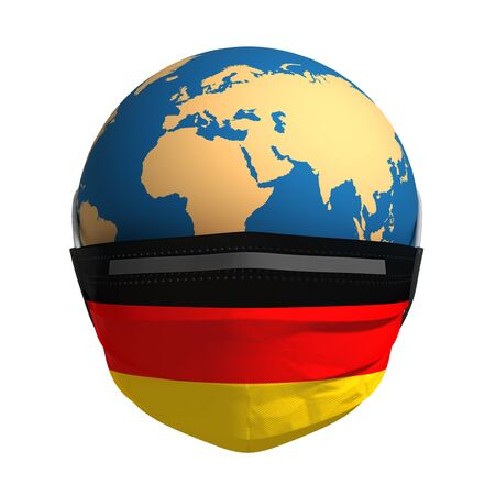 Planet Earth In Medical Mask And Flag Of Germany On White Background