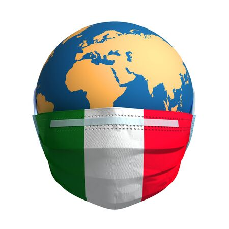 Planet Earth In Medical Mask And Flag Of Italy On White Background