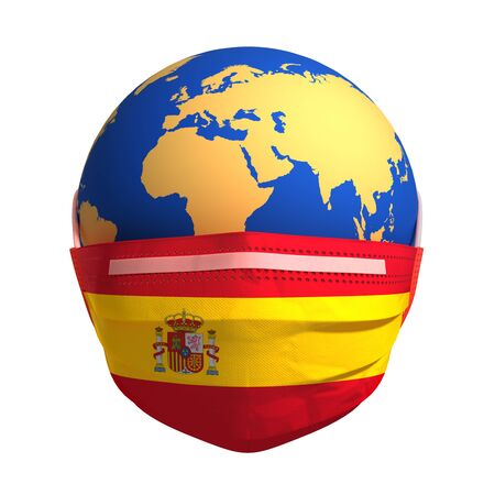 Planet Earth In Medical Mask And Flag Of Spain On White Background Banco de Imagens