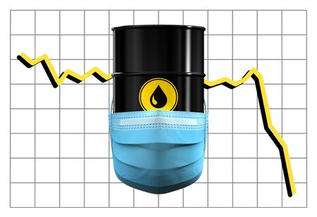 Barrel Of Oil In Medical Mask On Background Of Price Chart