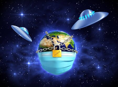 Two UFOs In Front Of The Locked Planet Earth