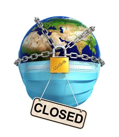 Locked Planet Earth With Sign Closed On White Background