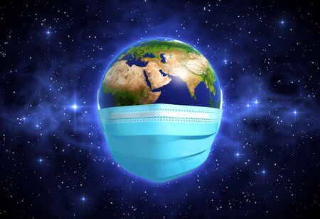 Earth In Medical Mask In Outer Space
