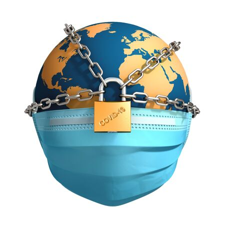 Planet Earth In Chains And Locked On White Background Banco de Imagens