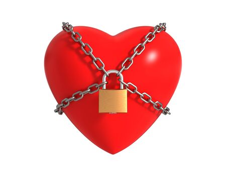 Locked Heart With Chains Isolated On White Background. 3D Illustration. Banco de Imagens